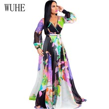 WUHE 2019 Summer Women Floral Print Vintage Maxi Dress Boho Casual Full Sleeve V Neck Loose Chiffon Beach Plus Size S-XXL