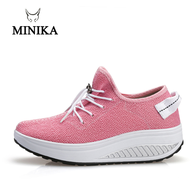 58258148cd1d Minika New Pink Women s Sneakers Platform toning Wedge zapatillas sports  shoes for women Swing Shoes Slimming Sneakers Fitness