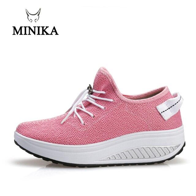 Minika חדש ורוד נשים סניקרס פלטפורמת חיטוב טריז zapatillas ספורט נעלי נשים נדנדה נעלי הרזיה נעלי ספורט כושר