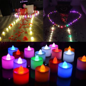 1PCS Battery Powered LED Candles Multicolor Lamp Simulation Color Flameless Tea Light Home Wedding Birthday Party Decor TSLM2
