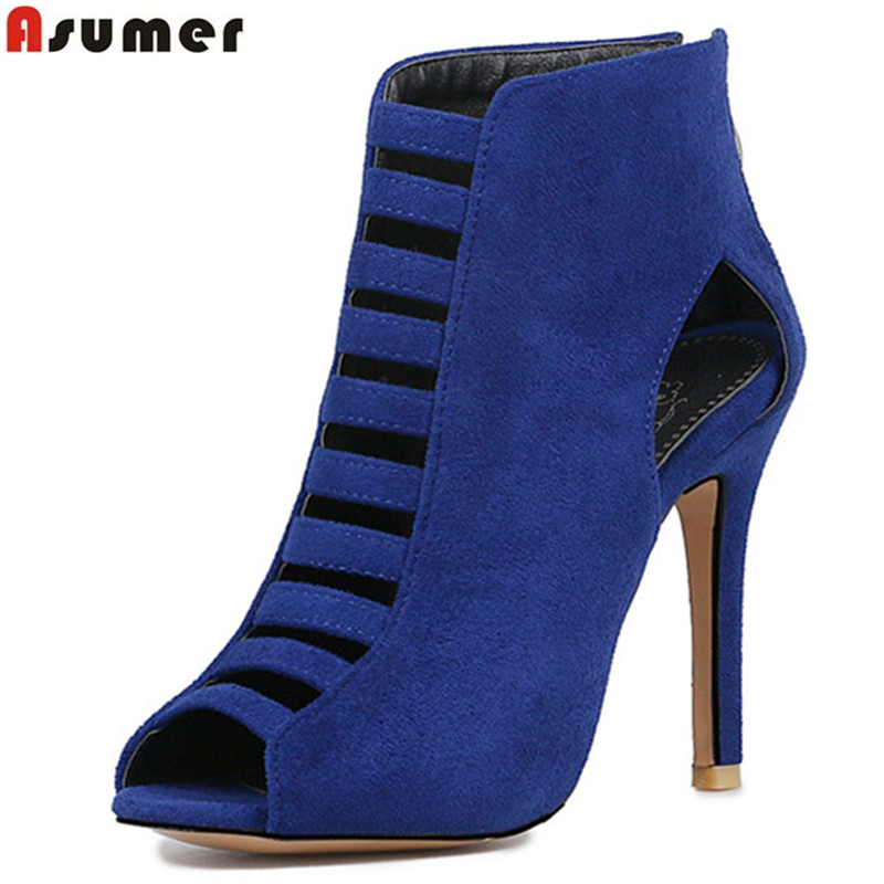 Asumer 2018 summer hot sale new arrive women pumps fashion zipper peep toe flock super high hels shoes