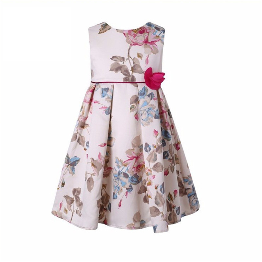 Girls Dress Summer Floral Children Clothes Girls Clothing Kids Dress Red Flower Princess Holiday Party Wedding Toddler 70C1088 2017 new fashion brand summer kids clothes children clothing girls dress baby kids princess dress summer denim holiday sundress