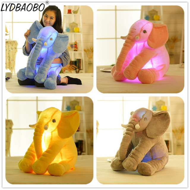 1PC 50CM Drop Shipping Led Infant Soft Appease Luminous Elephant Playmate Calm Doll Baby Toys