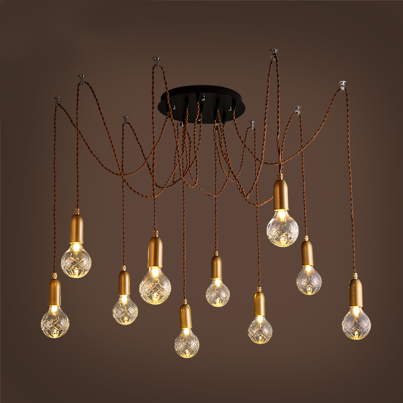 Retro cafe bar long spider lamp loft light industrial creative office The heavenly maids scatter blossoms Chandelier