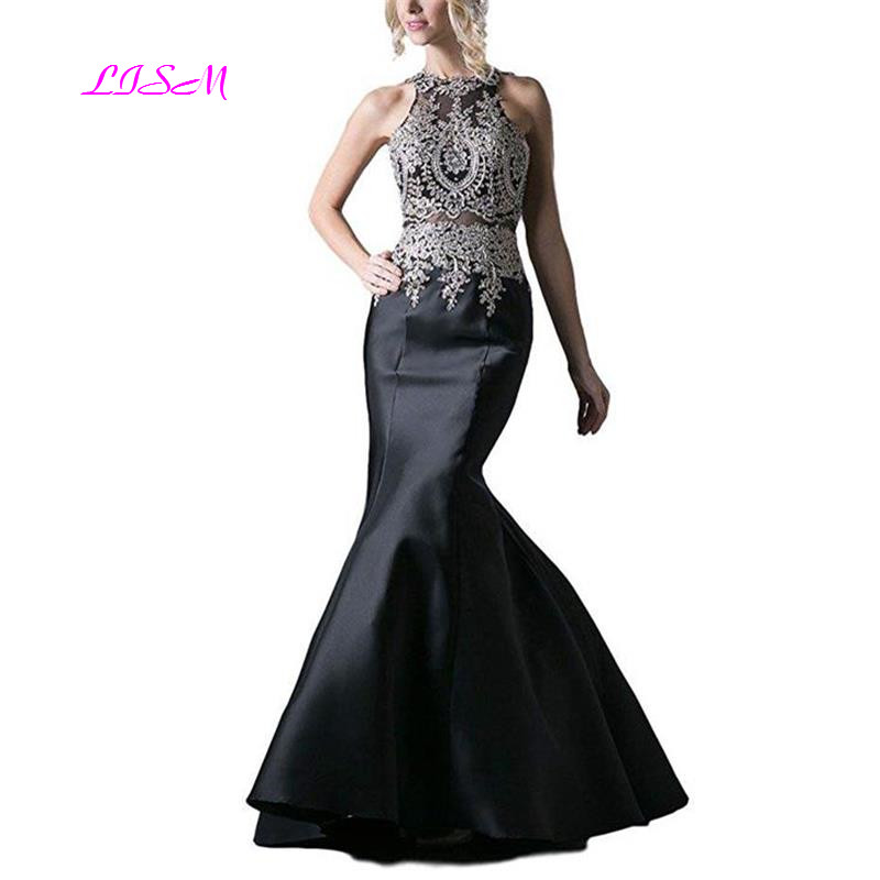 Embroidery Halter Stretchy Taffeta Mermaid Prom Dress Elegant Appliques Beaded Long Evening Dresses Sexy Backless Party Gowns