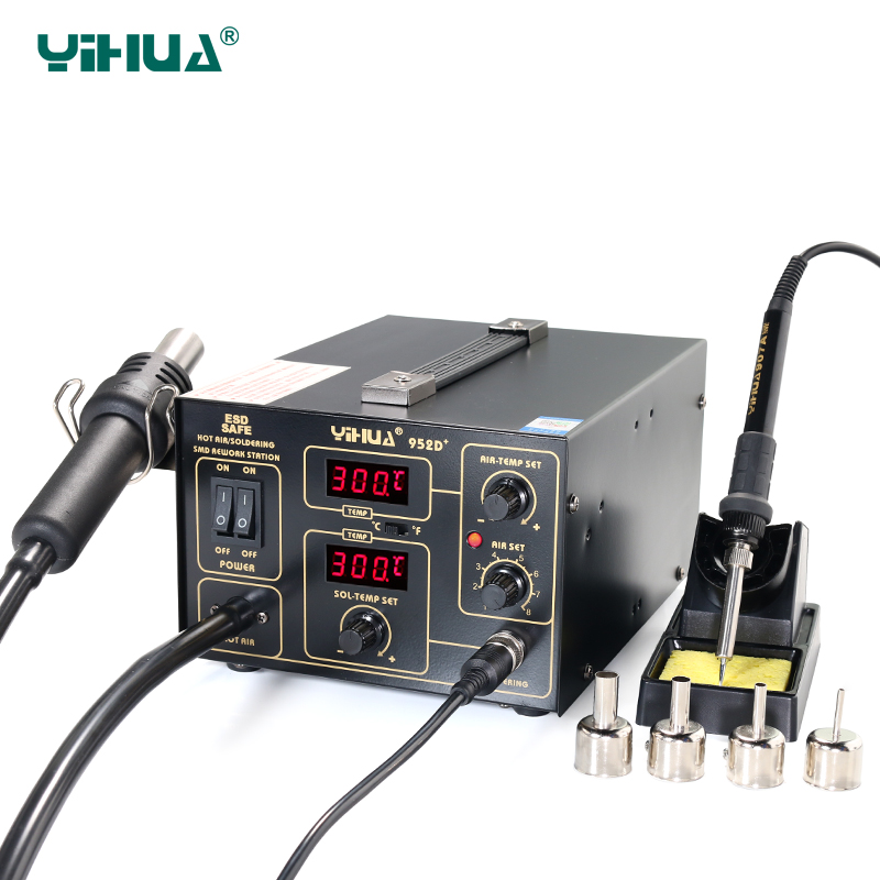 YIHUA 952D+ Soldering Station Hot Air With 4 Nozzles Pump Type Soldering Station For Phone Repair free shipping yihua 995d soldering station air soldering station for motherboard repair tools