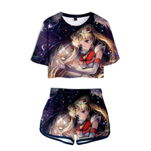 Hot sale Summer 3D Print Sailor Moon Exposed Navel T-Shirt + Short pants Women's two-piece sets Fashion Anime girl's pretty Sets
