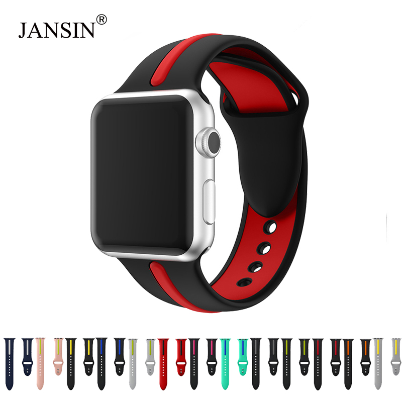 JANSIN Silicone Band For Apple Watch Series 5 4 3 2 Sport Strap For Iwatch 38mm/42mm/40mm/44mm Strap Strape Colorful Replacement
