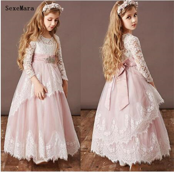 Classic Pink Tulle White Lace Flower Girl Dress for Wedding Ankle Length Princess Dress with Bow Customized For 2-14 Y VestidosClassic Pink Tulle White Lace Flower Girl Dress for Wedding Ankle Length Princess Dress with Bow Customized For 2-14 Y Vestidos