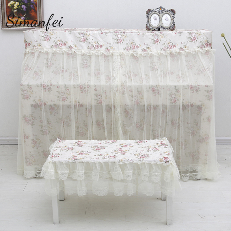 Simanfei Dust Proof Piano Cover 2017 Pastoral Voile Lace Full Piano Dust Covers Piano Dual Seat Bench Stool Decorative Border