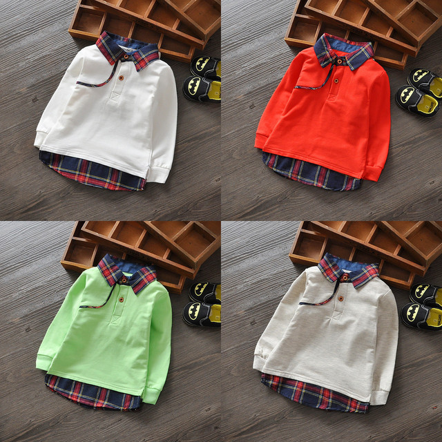 Cartoon Lattice Boys Hoodies 2016 Spring Casual Baby Boy Sweatshirts Kids T-shirt Boys Clothes Children Clothing Free Shipping