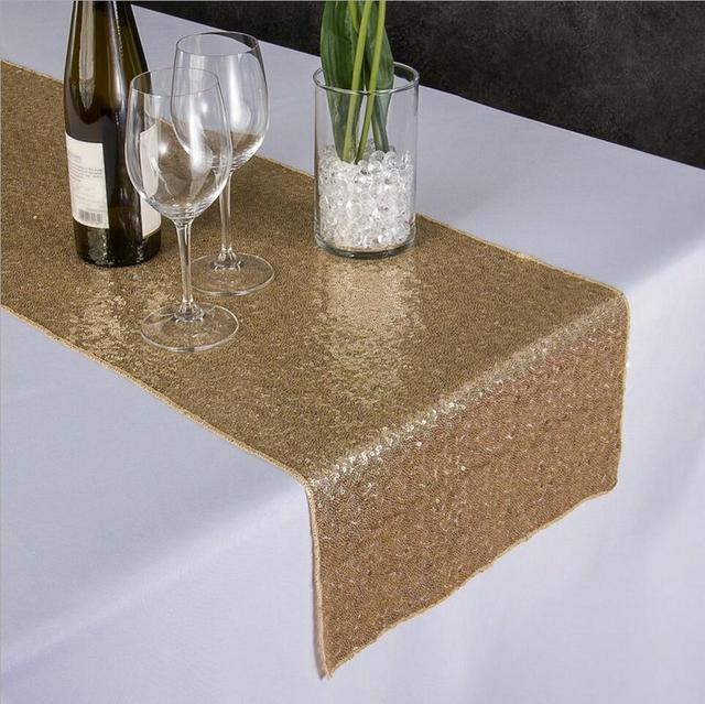 Sunnyrain 10 Pieces Luxury Gold Sequin Table Runner Wedding Party Decoration Solid Color