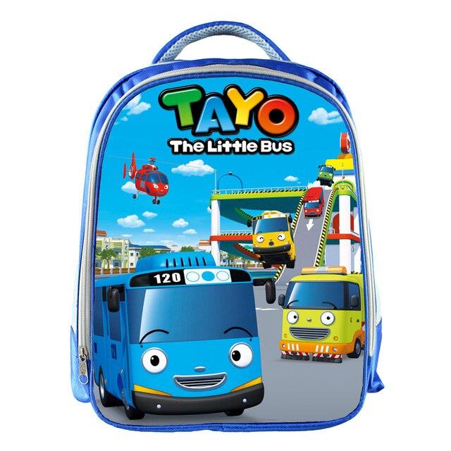 TAYO Bus Blue School Bags for Teenagers Cartoon Cars 13inch 3D Printing Boys Girls Children Kids School Bag