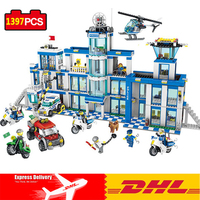 DHL Police Station Set Building Blocks Toys Compatible Legos City Action Mini Police Figures Toys For