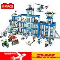 DHL Polis İstasyonu Set Yapı Taşları Oyuncaklar Uyumlu Legos Şehir Eylem Mini Polis Çocuk Eğitici Oyuncaklar Için Oyuncaklar Rakamlar