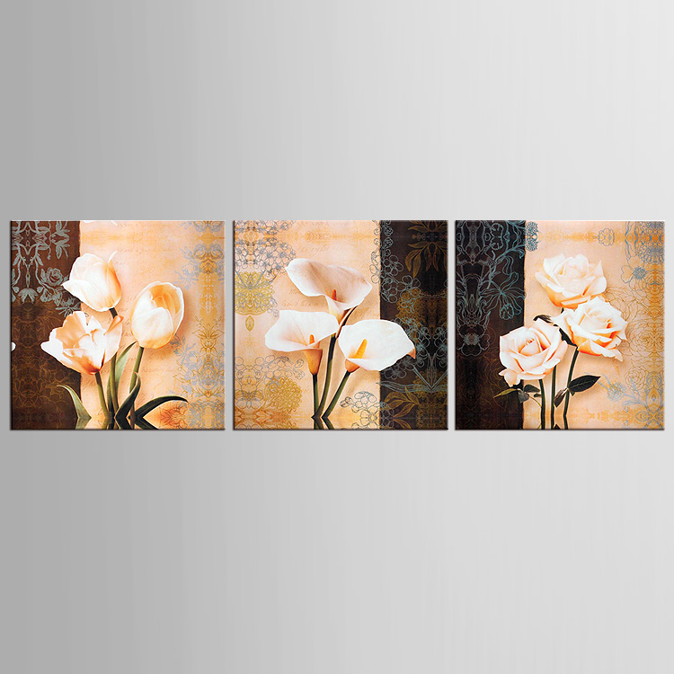 Modern flower paintings 3 piece large canvas print wall for 3 piece wall art