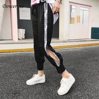 Fashion Women Pants Ladies Wide Leg Trousers Packets Girls Elastic Student Loose Letter Slacks Casual Side Stripe Pant SH9106