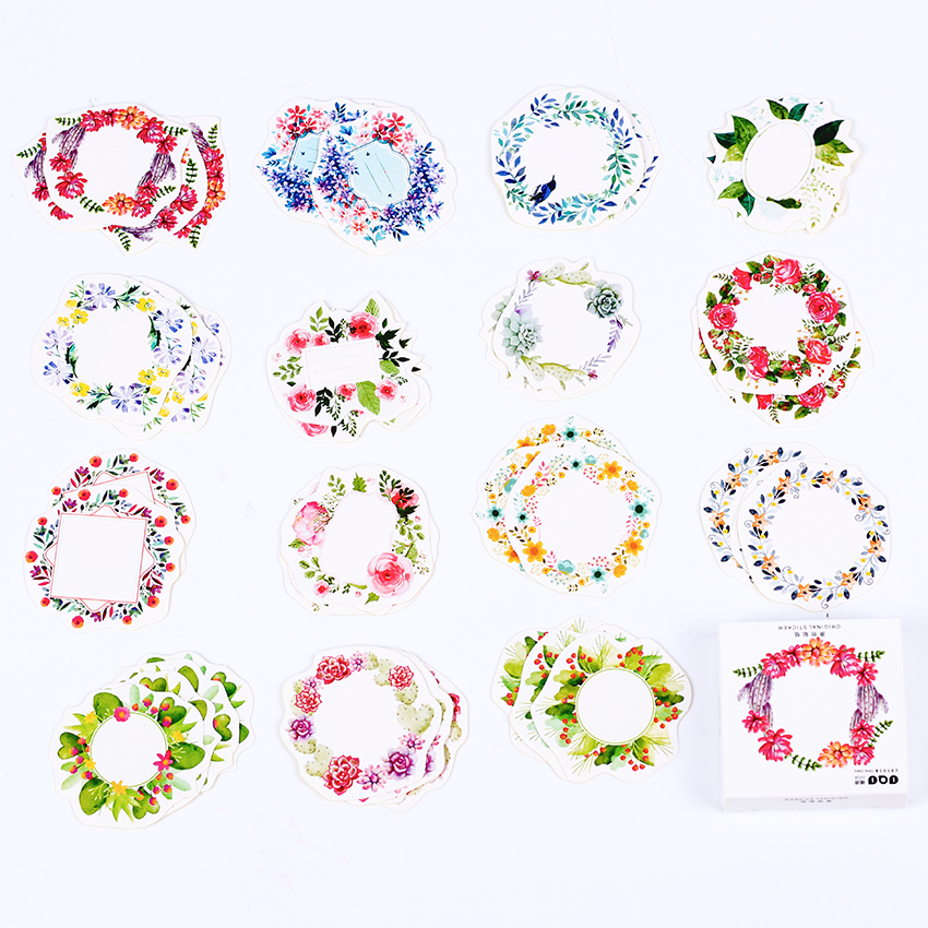 90PCS/2boxes Mini Wreath Sticker Decor Diy Album Scrapbooking Seal Flower Ring Stickers Kawaii Stationery Gift Material Escolar e05 1 sheet my kawaii friends decorative adhesive stickers diy scrapbooking sticker stick label decor stationery kids gift