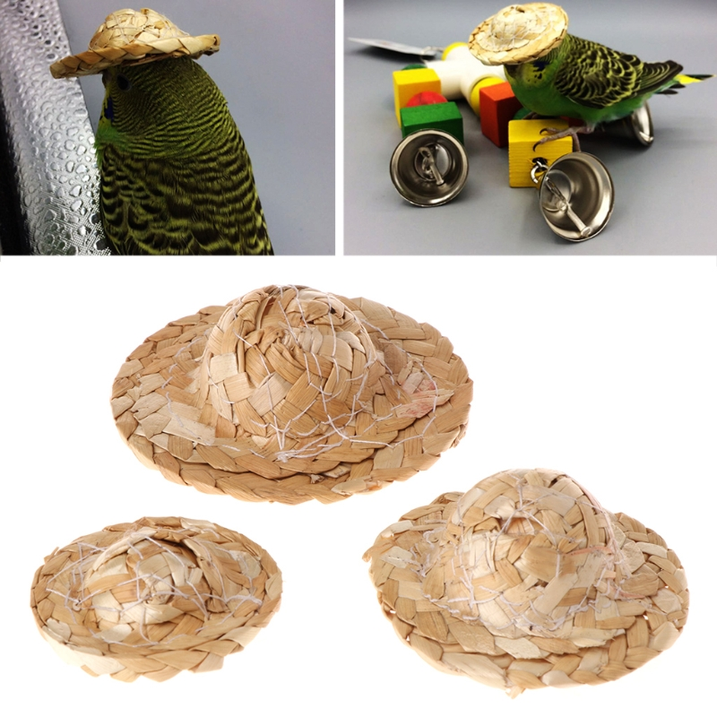 Newest 1PC Handmade Straw Woven Hat Adjustable For Parrot Birds Accessories Fashionable