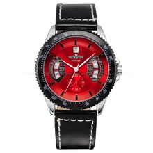 Brand New Winner Mens Military Army Automatic Mechanical Date Day Display Red Dial Leather Band Analog Sport Wrist Watch/ PMW009