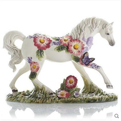 Beauty Ceramic Horse Home Decor Crafts Room Decoration