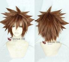 Kingdom Hearts III Sora Kısa Afro Soluk Kahverengi Isıya Dayanıklı Sentetik Saç Cosplay Kostüm Peruk + Parça + Kap