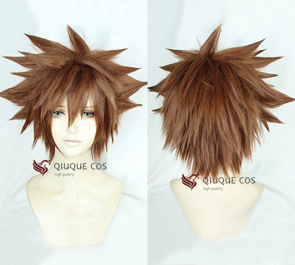 Kingdom Hearts III Sora Short Afro Pale Brown Heat Resistant Synthetic Hair Cosplay Costume Wig + Track + Cap
