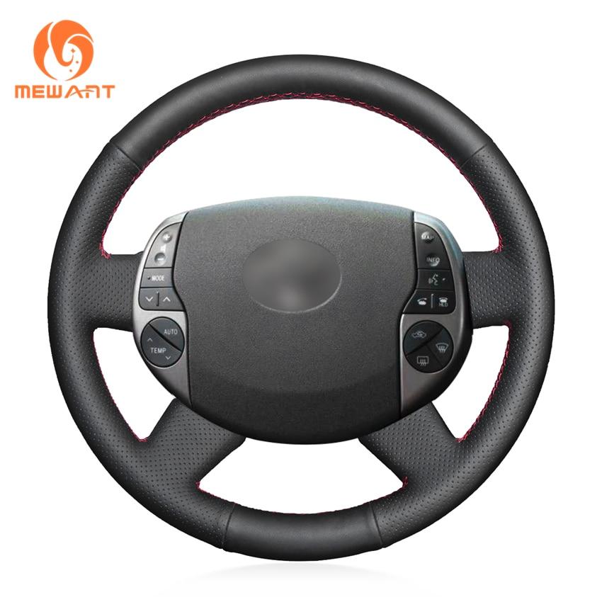 MEWANT Black Genuine Leather Car Steering Wheel Cover for Toyota Prius 2005-2008 mewant black genuine leather car steering wheel cover for old kia sorento 2004 2008