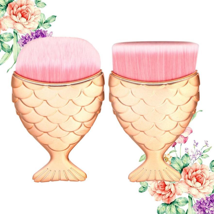 1PCS/2PCS Mermaid Fish Scale Makeup Brush Fishtail Bottom Powder Blusher Cosmetic Makeup Brush