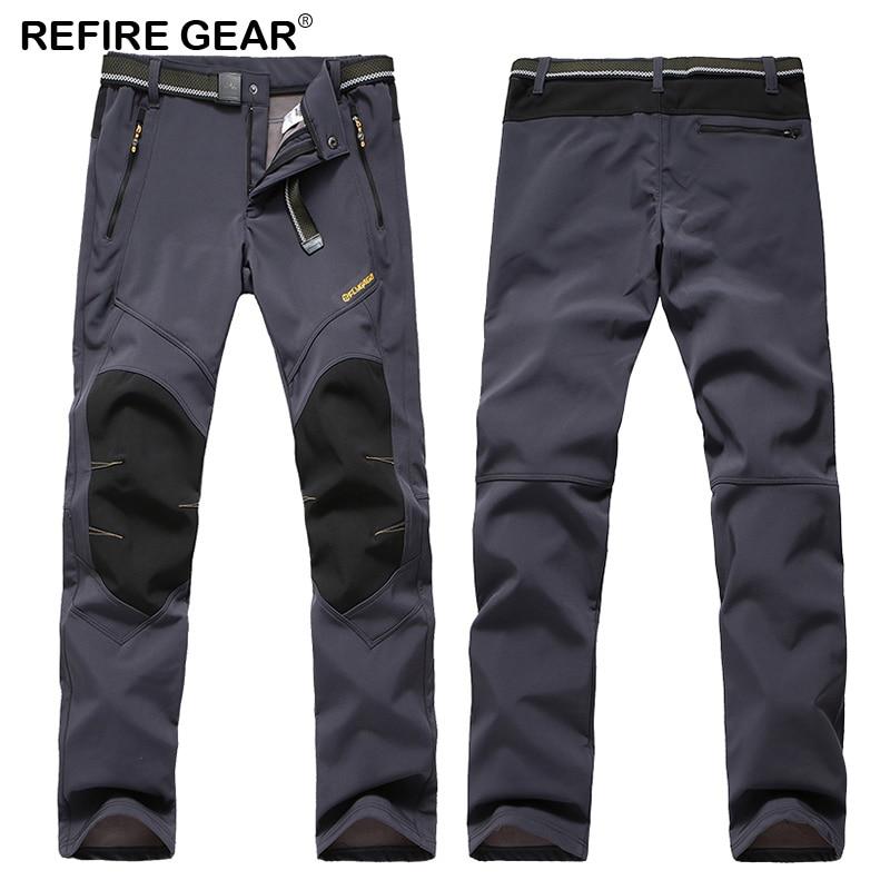 Refire Gear Winter Trekking Pants Men Outdoor Waterproof Windbreaker Thermal Thick Trousers Hiking Camping Fishing Ski