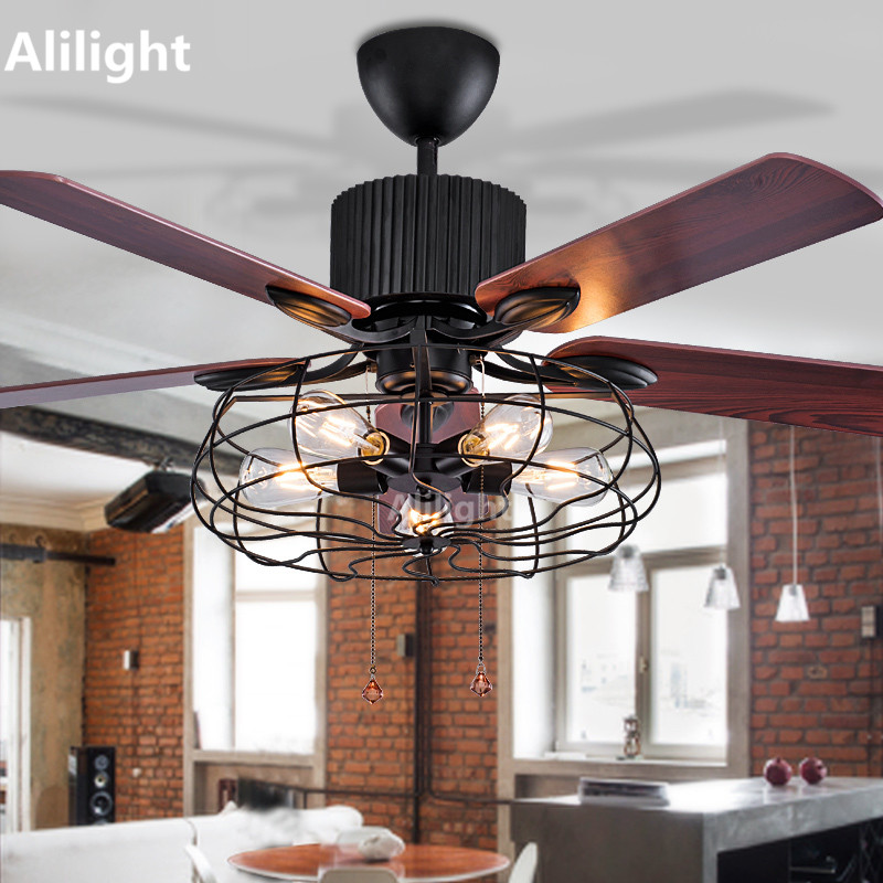 Loft industrial ceiling fans with lights for restaurant ultra quiet loft industrial ceiling fans with lights for restaurant ultra quiet living room wood fan blades light hanging lamp decor fixture aloadofball Gallery