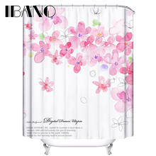 Flowers Shower Curtain Plant Customized Waterproof Polyester Fabric For The Bathroom With 12 Hooks