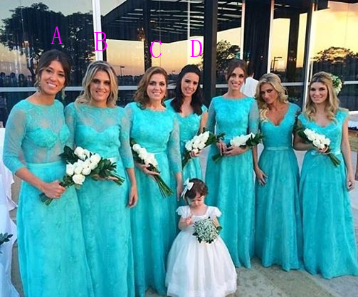 New Maid Of Honor Dresses Floor Length Long Sleeve Four Diffe Styles Hunter Lace Bridesmaid 2017 In From Weddings