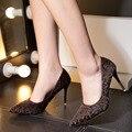 Crin Punta estrecha Zapatos de Mujer Leapord Clásico Básico Mujeres Del Partido Bombas 9 cm Altos Talones Finos