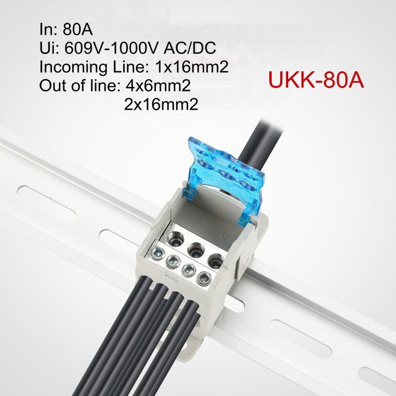 UKK80A Din Rail 1 in N Out Terminal Block Distribution Box Universal Power Junction Box Electric Wire Connector image