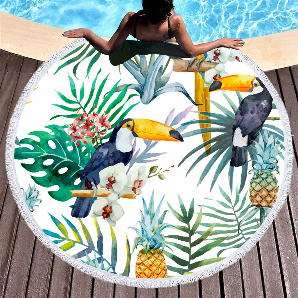 Microfiber Beach Towel for Adult Yoga Mat Tassel Blanket Tropical Plants Large Round Towel 150cm Tapestry Home Decor strandlaken