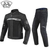 2018 New Summer Jeans Motorcycle Jacket And Pants Black Men's Slim Denim Cloth Riding Moto Motorbike Jackets CE Protectors Pads