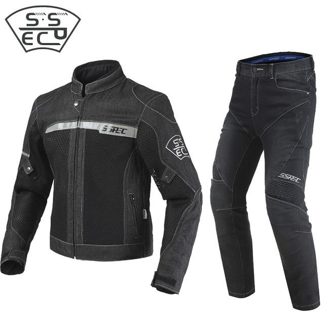 2018 nuevo verano Jeans motocicleta chaqueta y Pantalones Slim de los  hombres Denim tela montar Moto 55b6cdea0a7c0