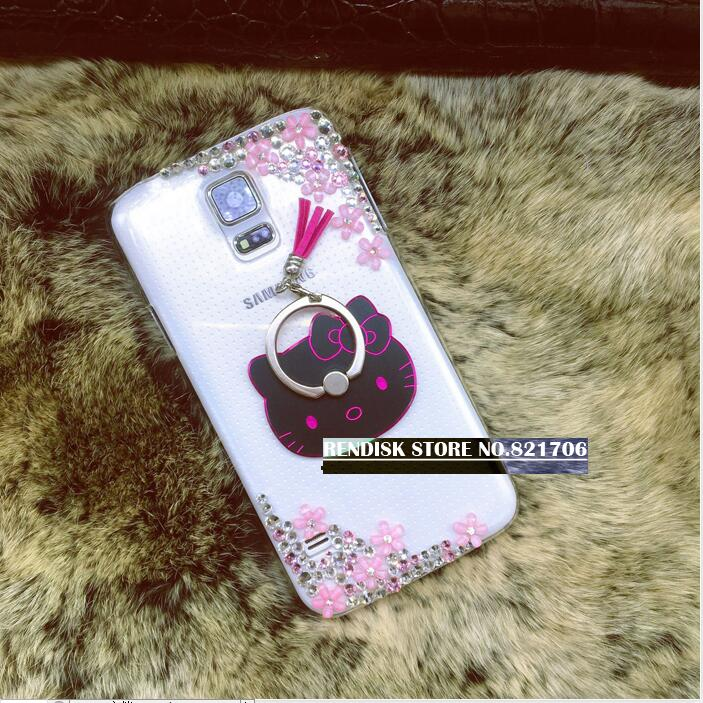 Diamond Flowers Cat Kitty Finger Ring Stand Holder Phone Case Cover For Samsung Galaxy A6 J8 Plus J6 J4 Phone Skins