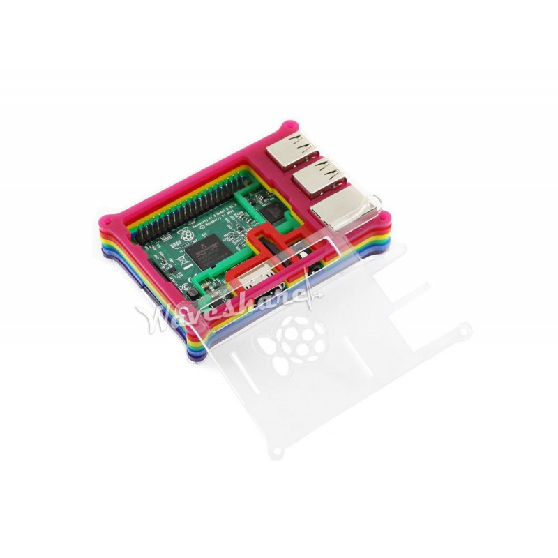 Modules New Arrival Raspberry Pi 3 Model B with Rainbow Case 1.2GHz 64-bit quad-core ARM Cortex-A53 1GB RAM new touch screen for 10 1 digma plane 1504b 4g ps1077pl tablet touch panel digitizer glass sensor replacement free shipping