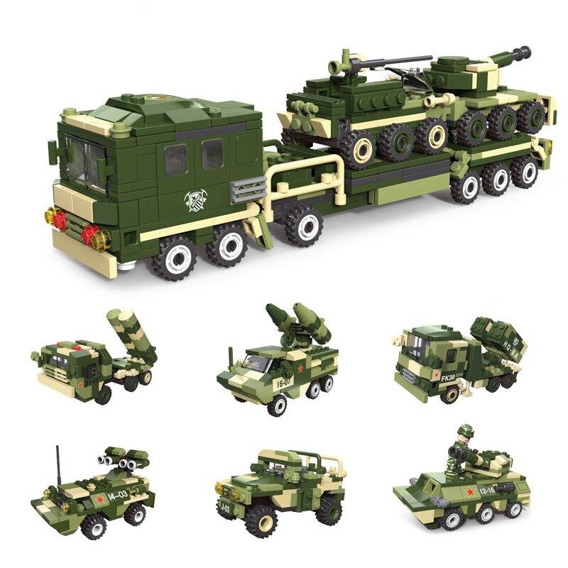 6in1 militaire legoing véhicules set blocs de construction armée bricolage Missile avion canon réservoir combat brique éducatif enfants jouet