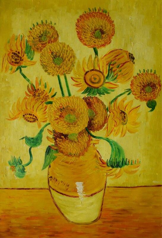 100% ručně malované plátno nástěnné umění abstraktní olejomalba Van gogh Slunečnice plátno malba nástěnné malby pro obývací pokoj