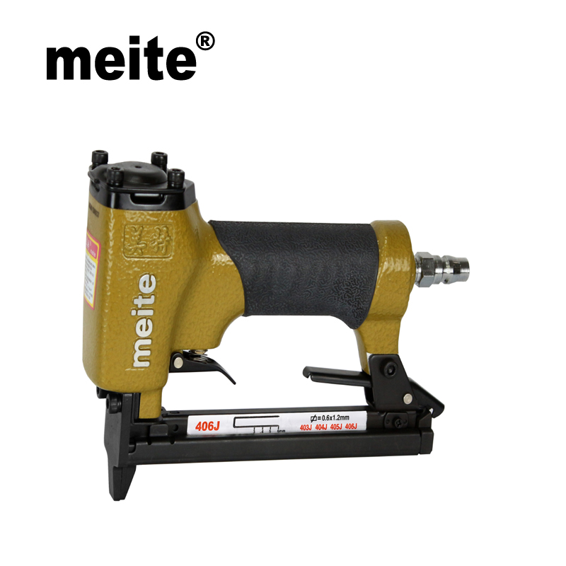 Meite 406J fine wire staple air pneumatic tool stapler nailer gun by leg length 3-6mm nail stapler for wood May.5th Update meite sn150 air tools pneumatic shoe nailer gun professional nail gun for making heel and sole nozzle 6mm feb 26 update tool
