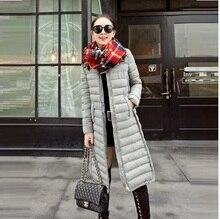 Горячая распродажа 2015 новый! Зимняя куртка женщин x-долго тонкий толщиной теплой одежды зимнее пальто женщин Большой размер одежды пуховик
