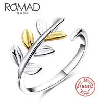 Romad Brand Fashion Wedding Engagement Rings For Women Gold Silver Leaves Plain 925 Sterling Silver Rings