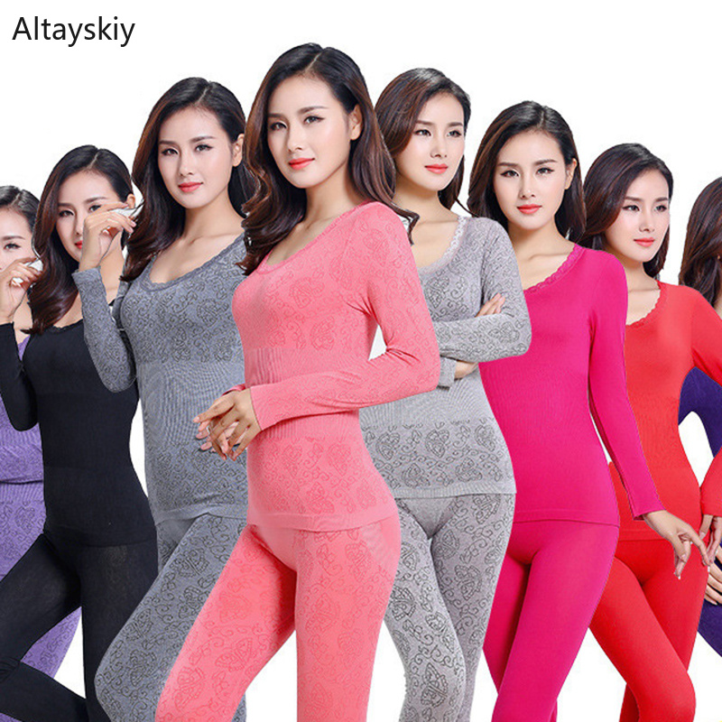 Thermal Underwear Women O-Neck Lace Body Shaped Slim Suit Sets Bottoming Womens Colorful  All-match Ladies Elegant Comfortable