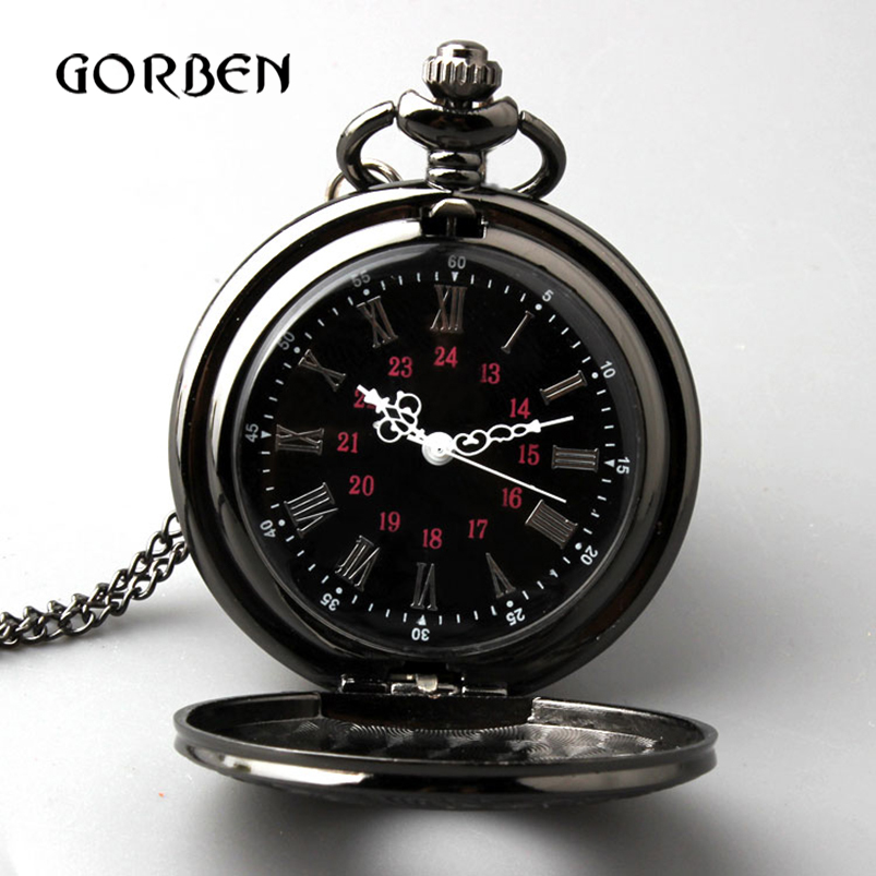 Retro Bronze Vintage Pocket Watch Necklace Chain Pendant Black Antique Steampunk Mens Quartz Pocket Watches Relogio De Bolso New