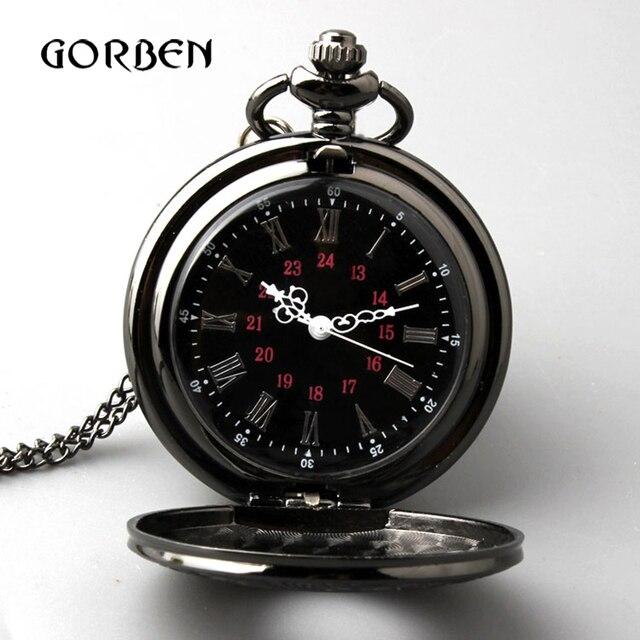 רטרו ברונזה בציר שעון כיס שרשרת שרשרת תליון שחור עתיק Steampunk Mens קוורץ כיס שעונים Relogio דה Bolso חדש