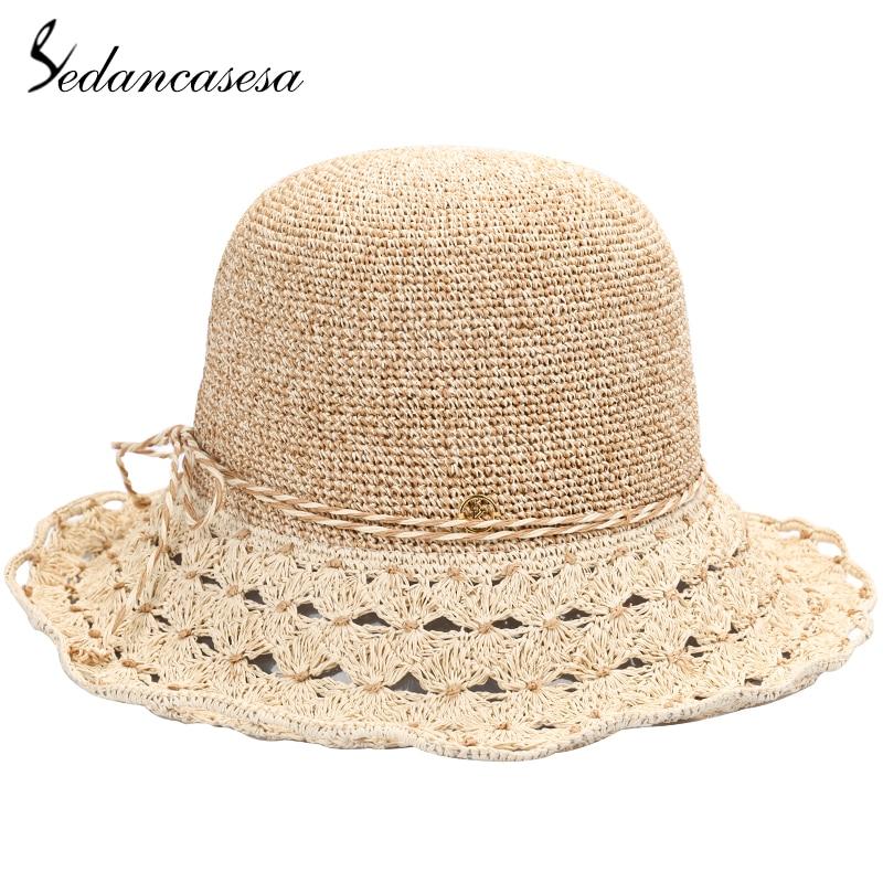 08721f5acbc99 Sedancasesa Portable Ladies Summer Sun Hat Straw Hats for Women Crochet  Curl Large Brim Beach Sun