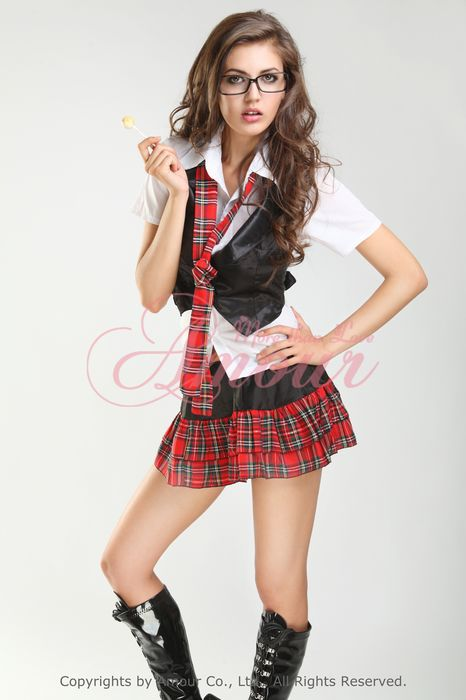 Sexy Halloween Naughty School Girl Costume Shirtvestsskirt 4Pcs Free Shipping -7541